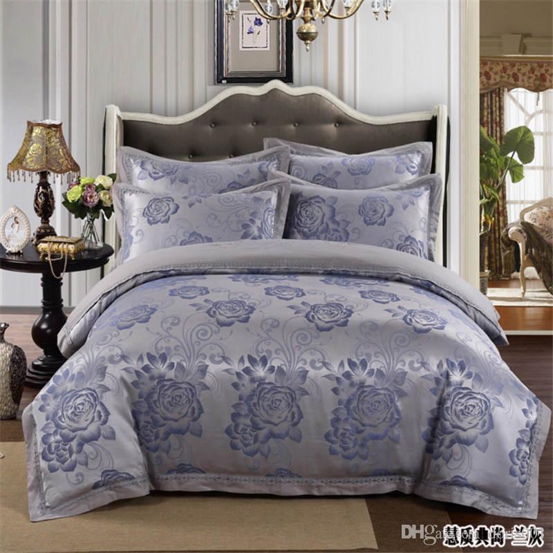 مبيعات كبيرة بالجملة الحرير القطن رشاقته مجموعات الفراش الملكة الملك ملاءة سرير حجم / غطاء لحاف / وسادة / مجموعة الشحن مجانا DHL