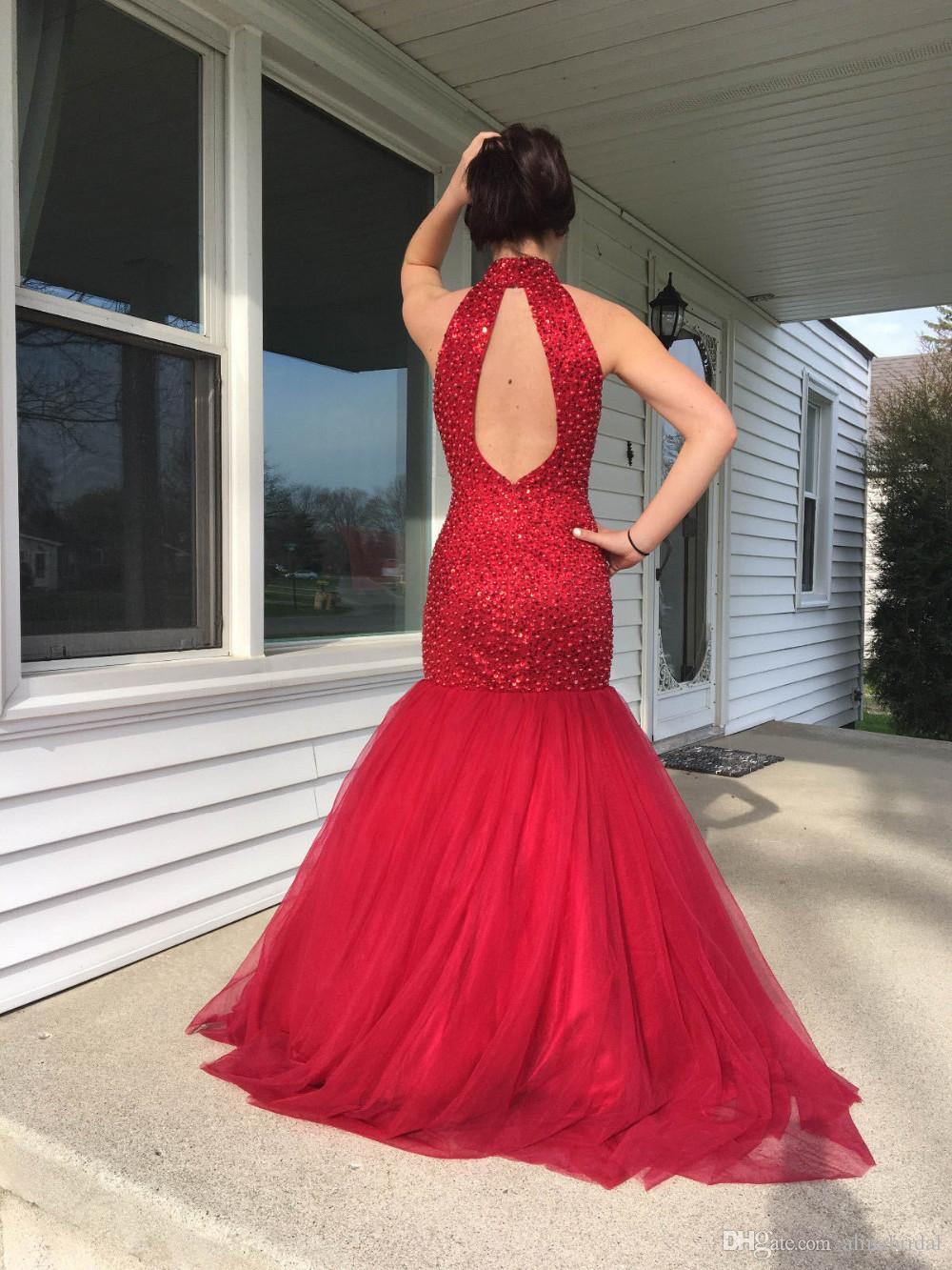 2018 roja romántica formal vestidos de noche vestido de sirena cuello alto de las lentejuelas con cuentas vestido de fiesta con la atractiva sin respaldo