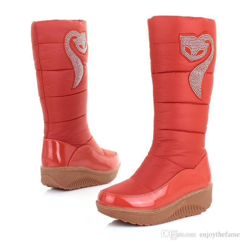 2016 новая зима Россия согреться женщины снегоступы хлопок обувь Мода платформа вниз зима колено высокие сапоги