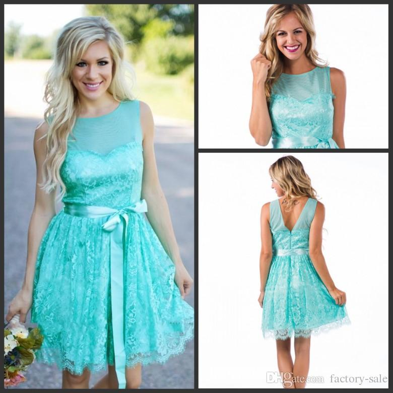 Aqua New Short Lace Bridesmaid Dresses 2017 Country Style Summer Beach Wedding Party Reception Guest Dresses With Sash Maid Of Honor Gowns
