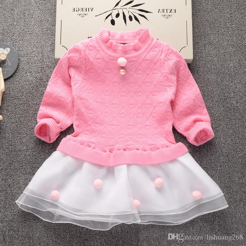 1f7713d4e 2017 Autumn Winter New Girls Net Yarn Princess Dress Kids Baby Sweater  Children Clothing Cotton Knitted Skirt Jumper Pullover Sweater Design For  Kids In ...