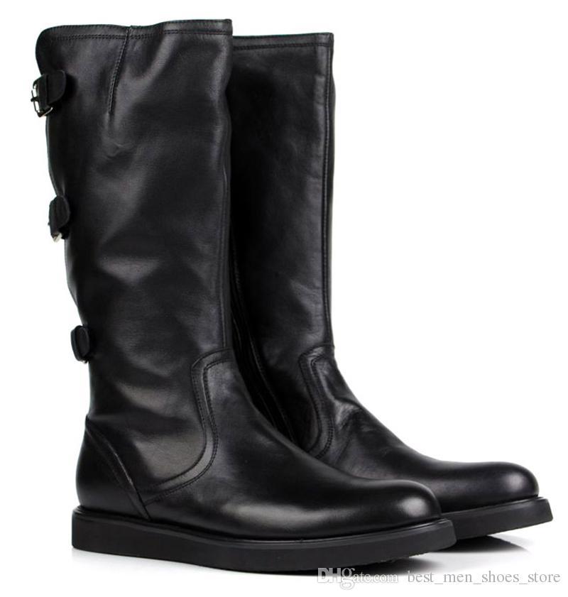 Britischen Stil Schnalle Mens Military Martin Stiefel Weiches Leder Kniestiefel High Top Casual Lederstiefel