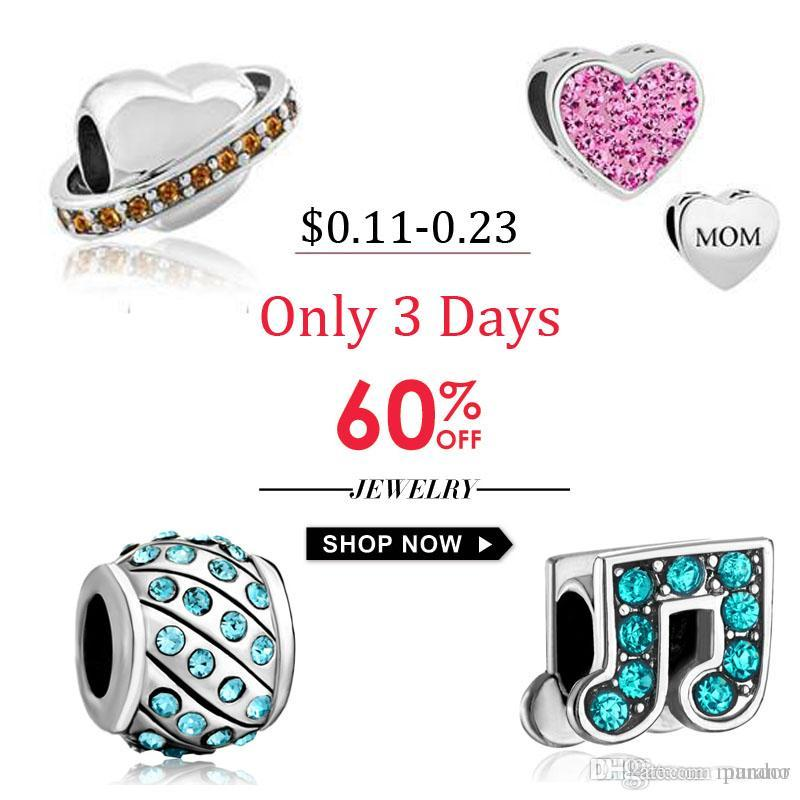 NEW Fits Pandora Charms Crystal Beads Silver Plated Beads Crystal ... 9e4a1413688e