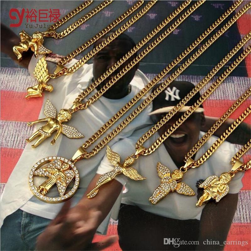 Wholesale 70cm Hiphop Gold Chains For Men 24k Gold Angel Chain Men