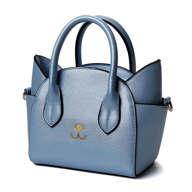 8edc0513f9db 2017 New PU Leather Handbags Funny Cat Ear Design Embroidery Shoulder Bag  Small Tote Trapeze Bag For Women Messenger Bags Laptop Bags Leather Backpack  From ...