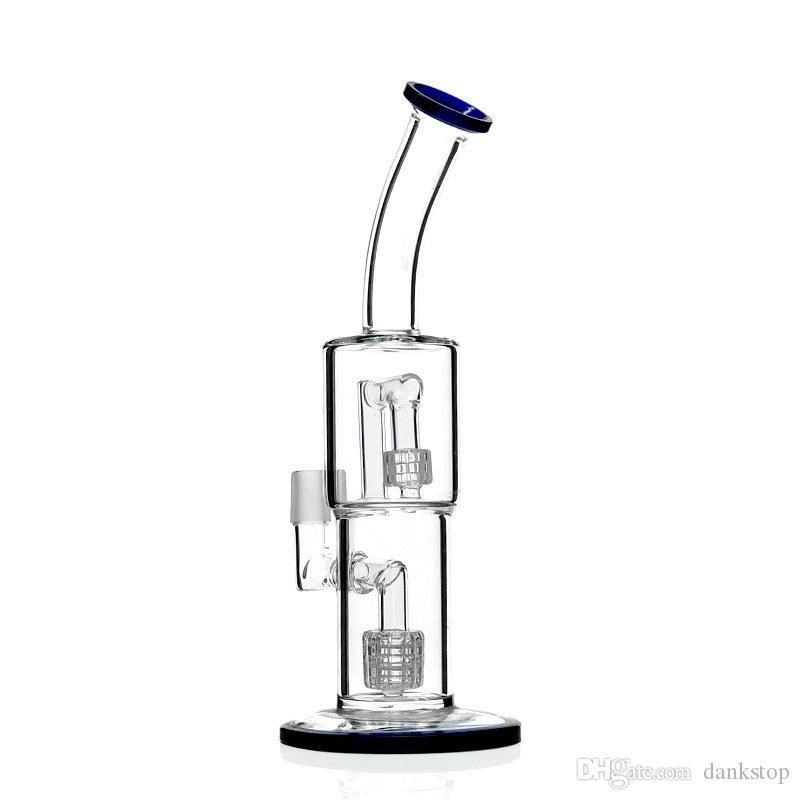 piattaforme petrolifere doppie in vetro riciclato bong in vetro riciclatore uso quotidiano con giunto maschio da 11 pollici 18mm ES-GB-111