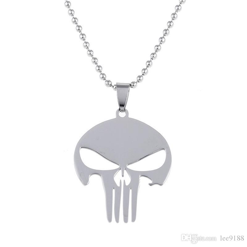 Marvel Jewelry Super Hero The punisher Skull Pendant Necklace Metal Stainless Steel Chain Necklace Movie Jewelry