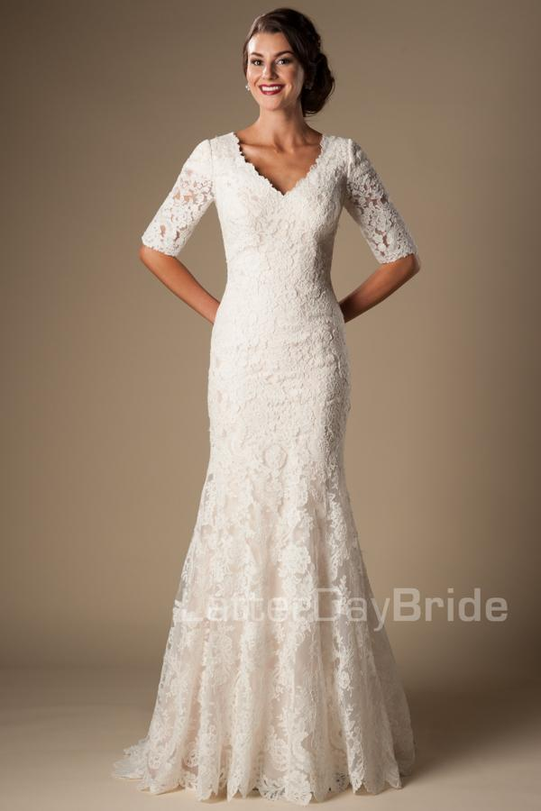 Ivory Vintage Lace Mermaid Modest Wedding Dresses With Half Sleeves 2016 V Neck Elbow Length Temple Gowns Vestido De Noiva Red