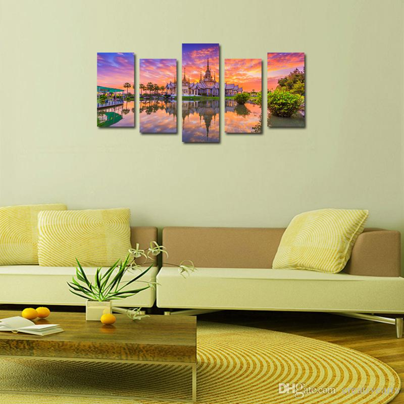 Modern Nightfall Cityscape Building Split 5 Panel Canvas Wall Art for Living Room Canvas Artwork Posters And Prints Wall Hangings Home Decor