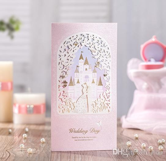 Laser Cut Wedding Invitations Cards Personalized Gold Lace Castle Wedding  Cards Invitations Unique Pink Wedding Invitations Vintage Style Wedding ...