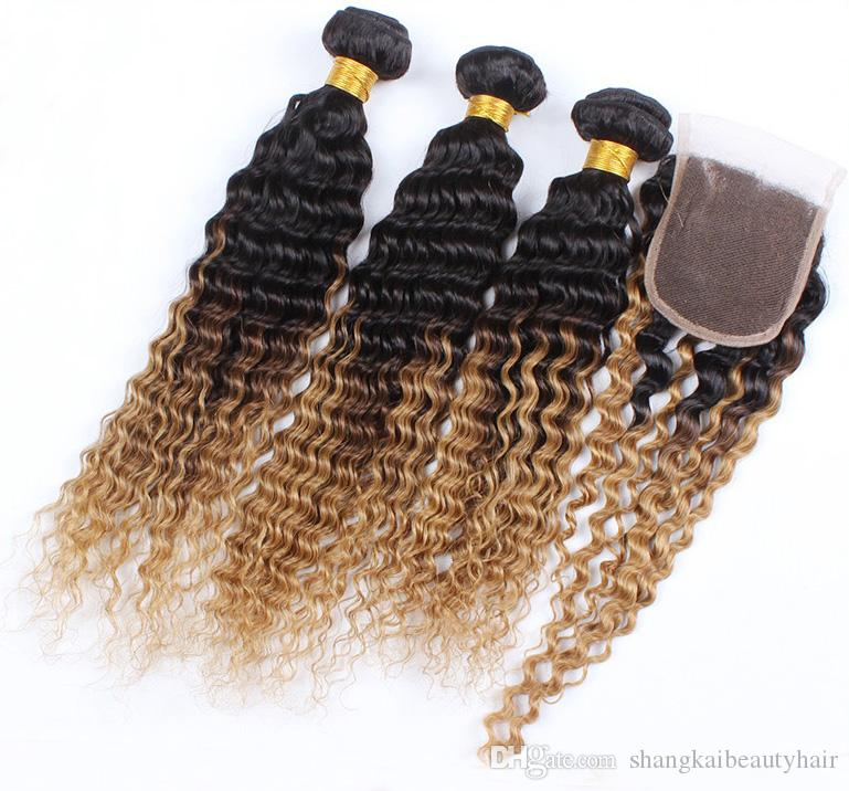 Supply Brazilian Hair Deep Wave Ombre Hair Extension Free Part Lace
