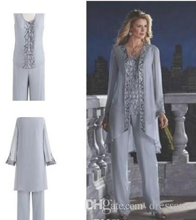 Mother Of The Bride Groom Pant Suit Silver Chiffon Beach