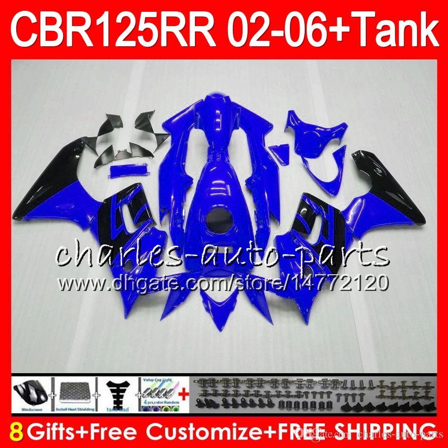 Corpo + serbatoio HONDA CBR125 R blu lucido CBR125R 02 03 04 05 06 80NO14 CBR 125R 125RR CBR125RR 2002 2003 2004 2005 2006 Carena i
