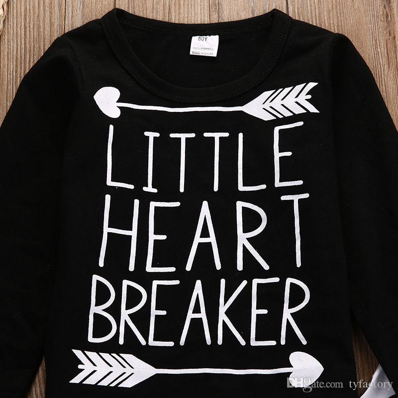 hot sale boys sets Newborn Infant kids baby Boy Girl black T-shirt+Pant LITTLE HEART BREAKER funny words printed tshirt Autumn suits