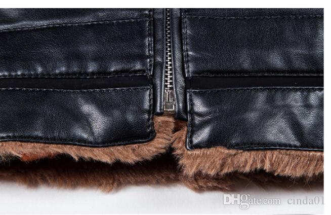 New Warm Winter Sheepskin Coat Mens Leather Jacket Fleece Thick Plus Size Clothing Coats Long Sleeved Outwears Clothing