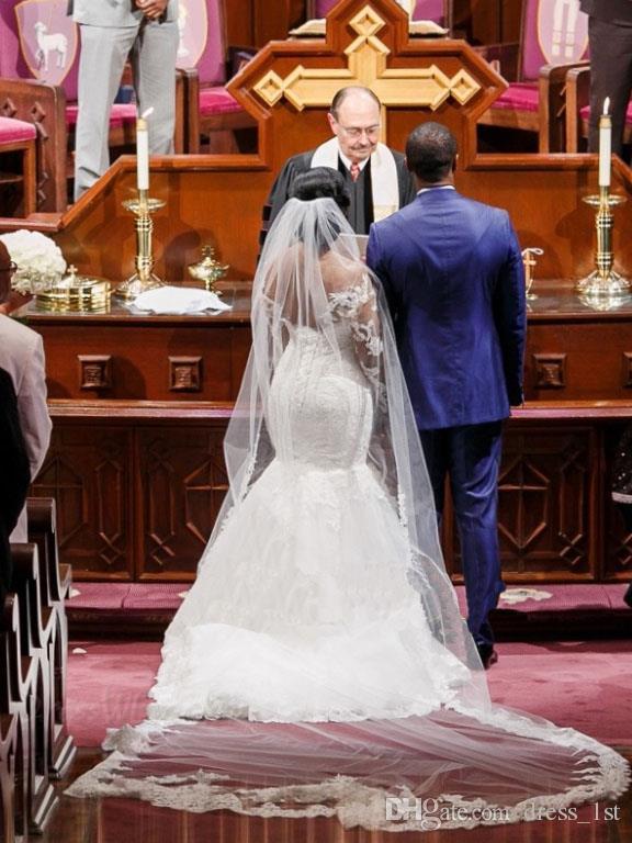 África 2016 del cordón lleno más el tamaño de la sirena vestidos de boda capilla Ilusión de la manga larga del cordón del amor Applique Vestidos de novia EN52619