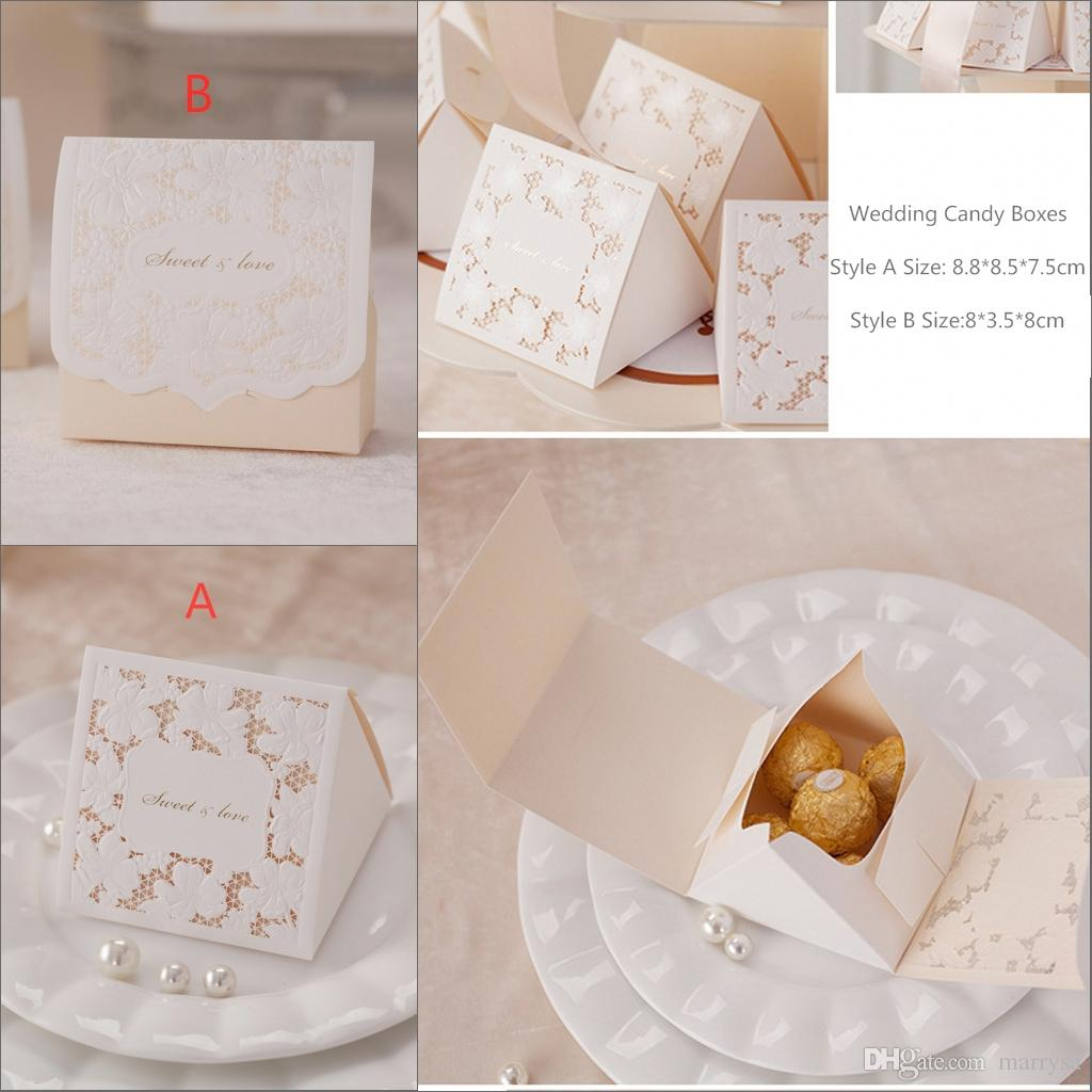 Laser Gold Luxury Wedding Favour Boxes Paper Gift Card Box Handmade