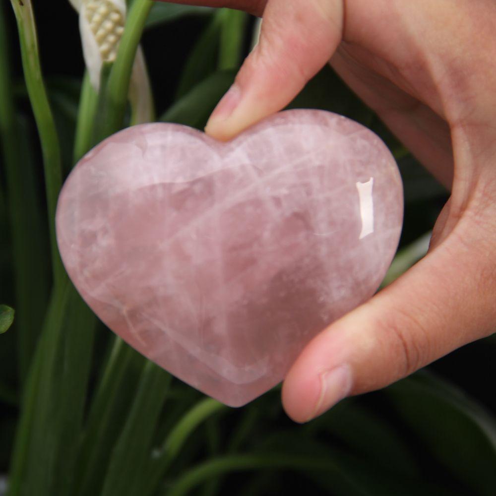 HJT 2.3inch Quartz rose crystal Heart Carving Craft Stone Chakra Healing Reiki Stones Lover gife stone crystal Heart shape