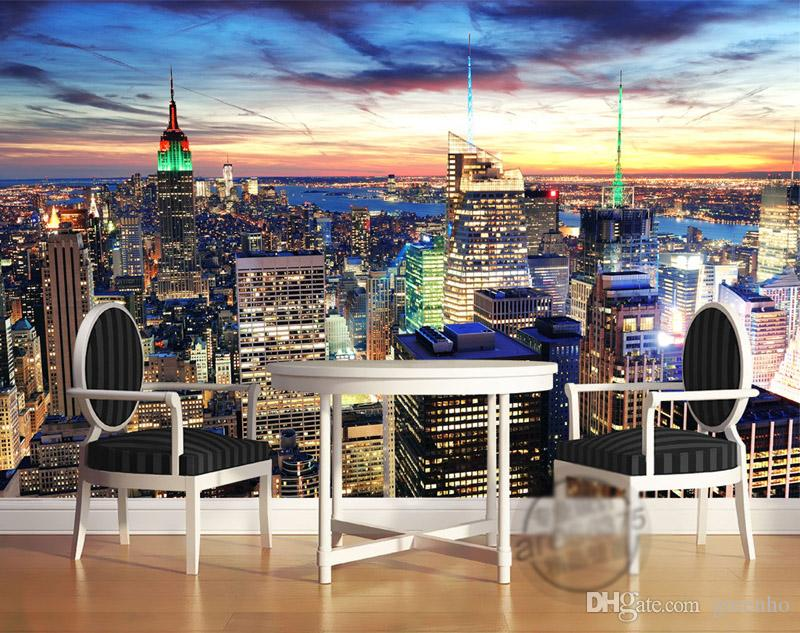 New York City Night Photo Wallpaper Custom 3D Wallpaper