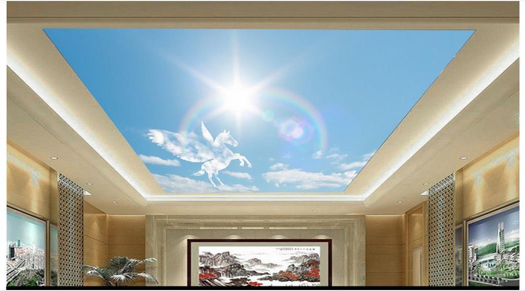 Alta calidad personalizada 3d murales de papel tapiz del techo Romántico caballo blanco príncipe arco iris sol cielo azul nubes blancas 3D techo de papel tapiz