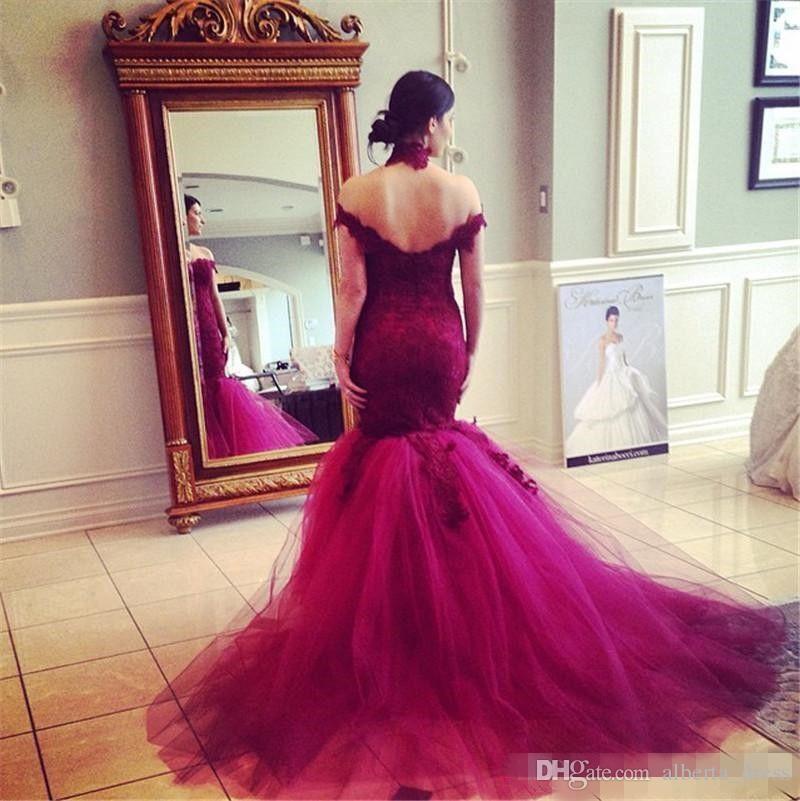 Sirena burdeos Vestidos de fiesta de encaje fuera del hombro Vestidos de noche cariño Apliques de tul Parte posterior abierta Largo Elegante Vestido de lujo del desfile