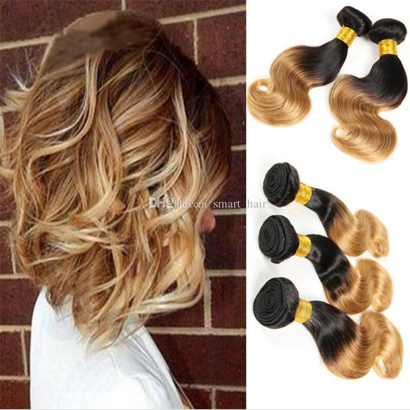Honey Blonde Human Hair Bundles 3 Bundles #1B 27 Two Tone Hair Weaves Dark Root Brazilian Ombre Body Wave Hair Extensions 3Pcs/Lot