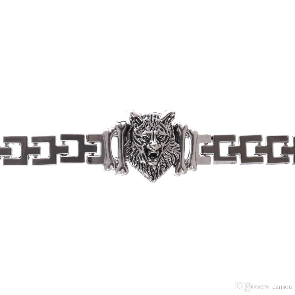 New Arrival Men Stainless Steel Bracelet Byzantine Style Men Jewelry Accessories Male Leopard Wolf Head Charm Wristband