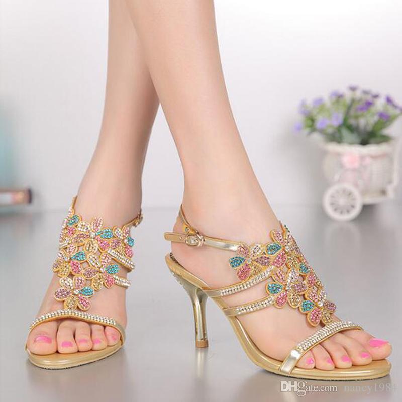 Offene Zehe Sommer Sandalen mit Strass Gold Farbe Brautkleid Schuhe Stiletto Heel Sexy Party Tanzschuhe