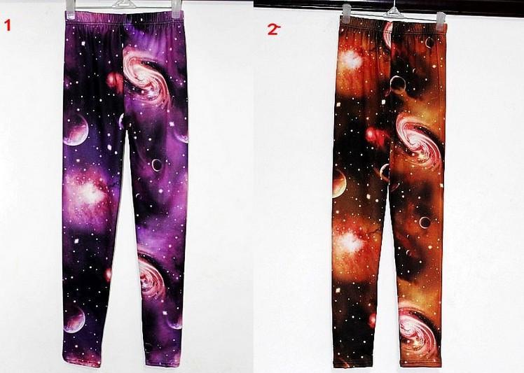 Leggings calientes de moda para mujer Estiramiento de cintura alta Lujoso Galaxy Print Legging Space Pantalones ajustados Fadeless