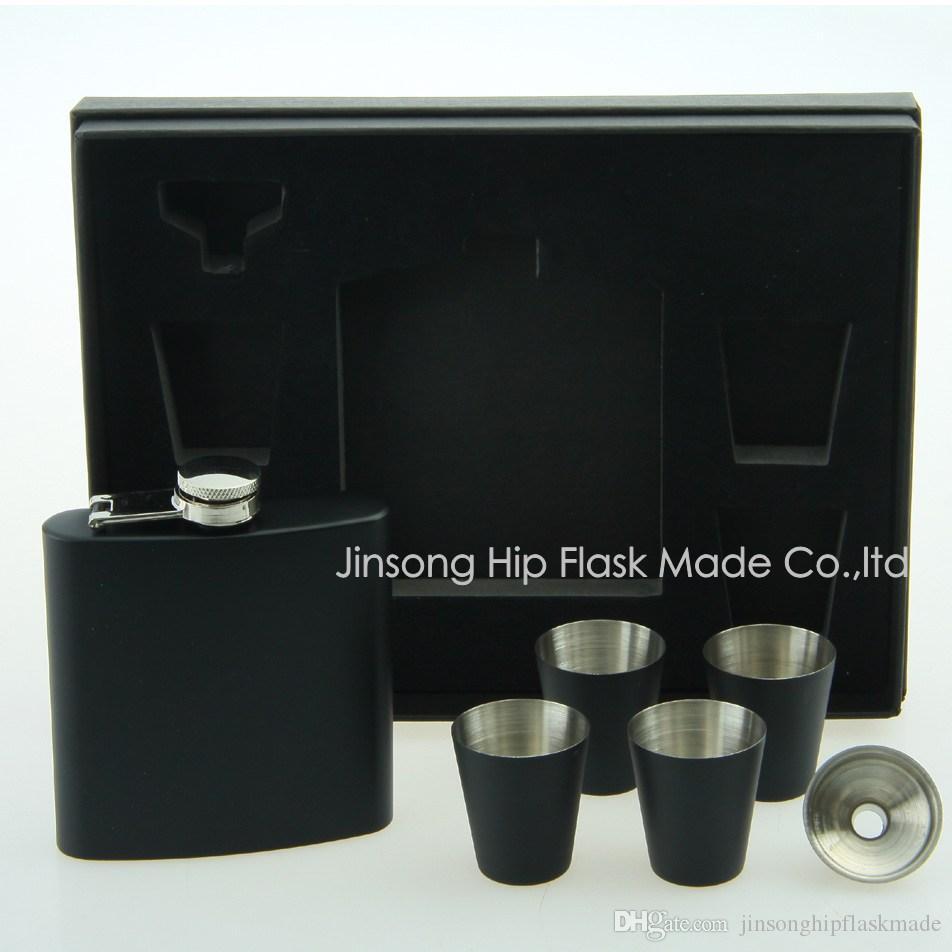 6 أوقية قارورة سوداء مع 4 قطع 25 مل طلقة الزجاج ومجموعة قمع ، هدية مربع رغوة الداخلية والأسود ، الشعار المخصص الخاص بك هو متاح أيضا