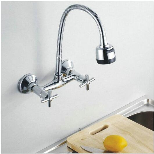 Wholesale Wall Mounted Flexible Rotate Mixer tap Faucet Bathroom Basin Kitchen Sink Two Function Spray Spout