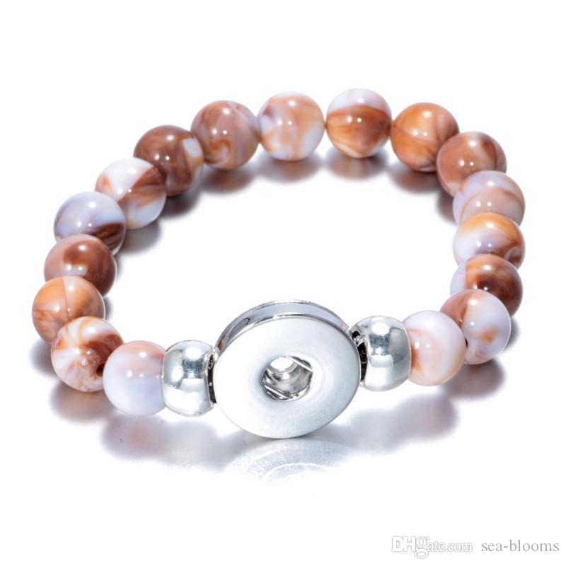 10 Estilos Snap Botão Natural Stone Beads Pulseira Pulseira Fit 18mm Botão Snap Ginger DIY Noosa Charme Jóias Presente Dos Namorados B826L