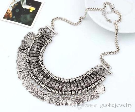 New Fashion jewelry Hot Selling Womens Stylish Pretty Boho Silver Coins Choker Statement Necklace