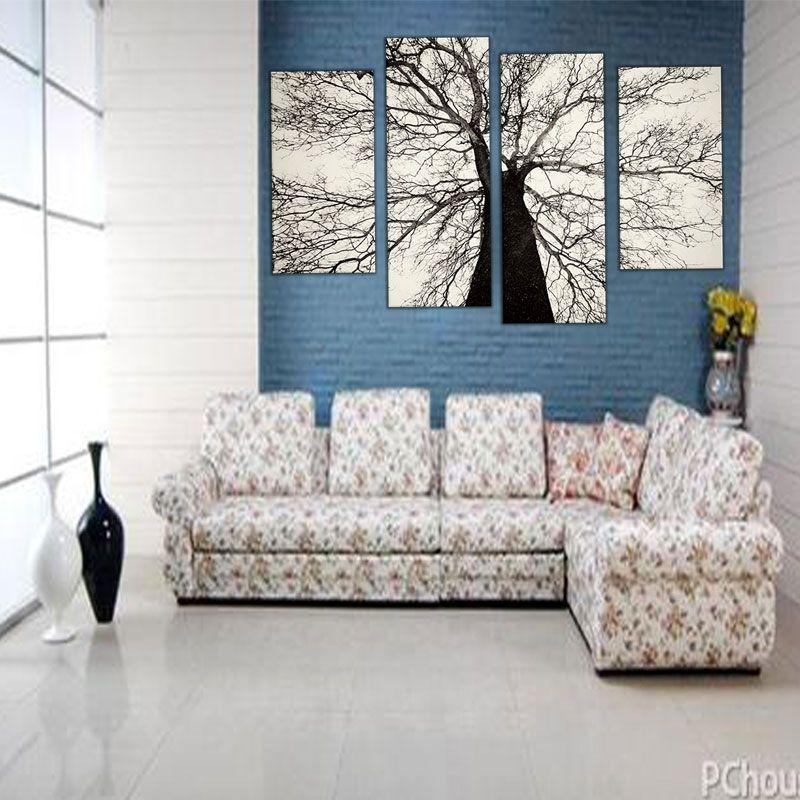 Amosi Art-Modern Paintings 흑인과 백인 겨울 나무 유화 스프레이 페인트 아트 홈 벽 장식 나무 액자