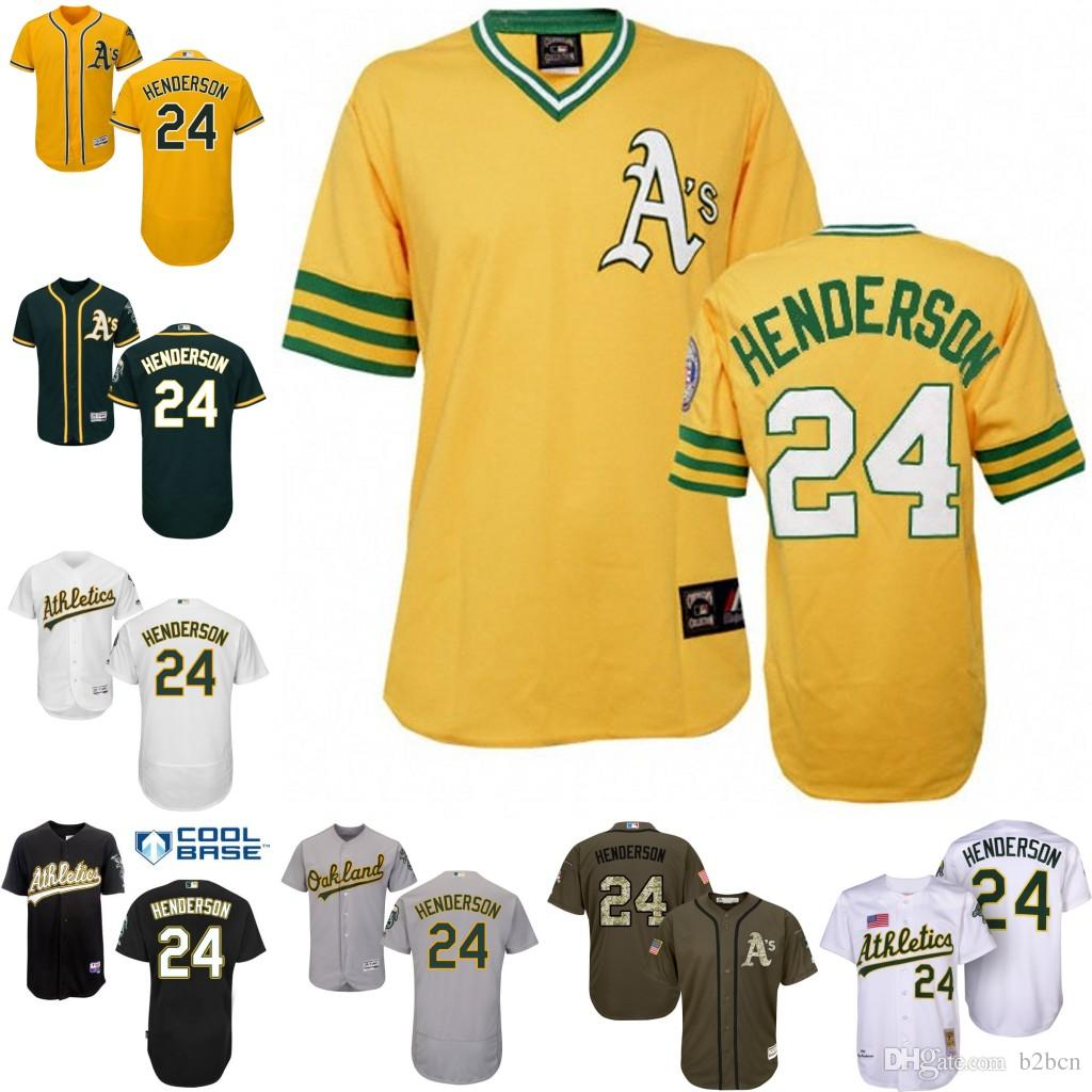 db1b11c9a Gold White Grey Green Yellow Throwback Rickey Henderson Authentic Jersey ,  Mens 24 Mens Oakland Athletics ...