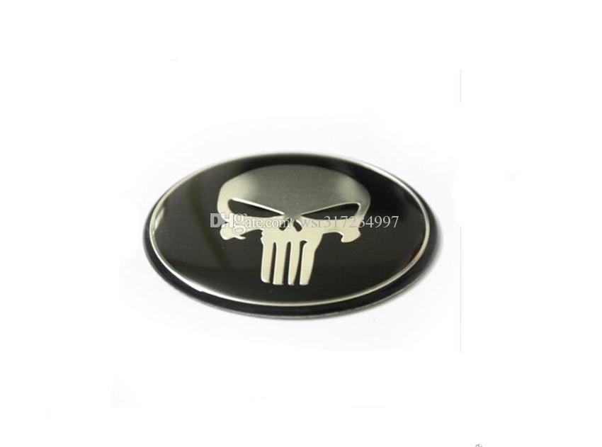 Cool Punisher Car Steering tire Wheel Center car sticker Hub Cap Emblem Badge Decals Symbol For Honda VW Audi BMW Nissan Ford Toyot