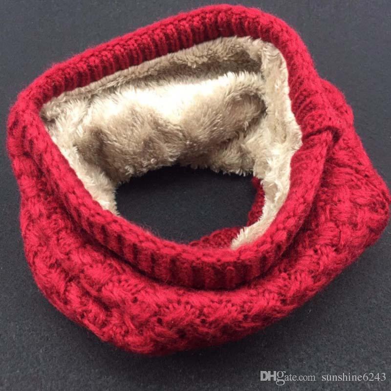 Herbst Winter Paar Einfarbig Gestrickte Wolle Schal Warm Verdickt Samt Schal Kapuze Schal Kostenloser Versand