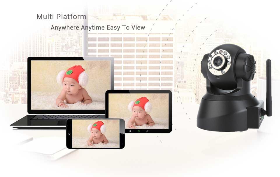 720P HD WIFI IP Camera Wireless P2P Plug and Play IR Night Vision Pan/Tilt Two Way Audio Micro SD TF card Slot