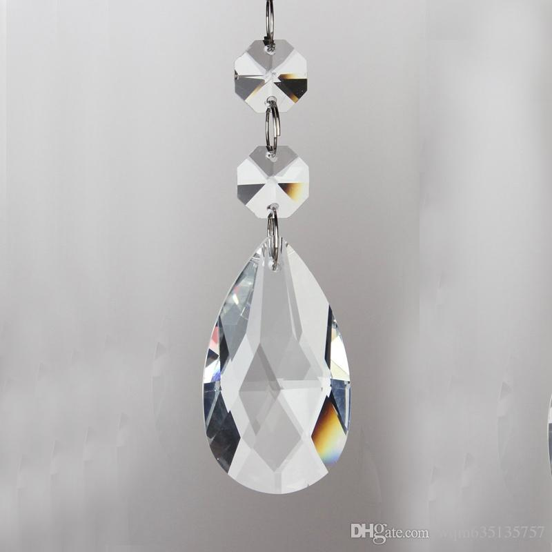 Glass Crystal Chandelier Parts Chandelier Crystal Teardrop Prisms Pendants 38mm with Two Octagon Beads Silver Connector Ring