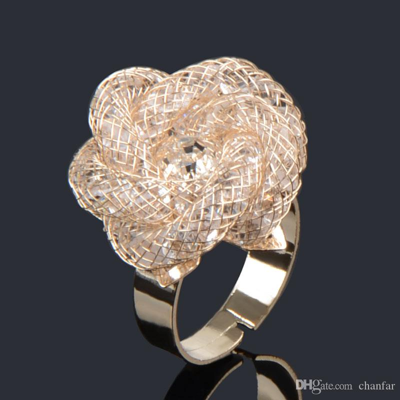 4 colors New arrival flower pattern mesh crystal Rings with adjustable net rose gold plated clear crystal rings for women jewelry