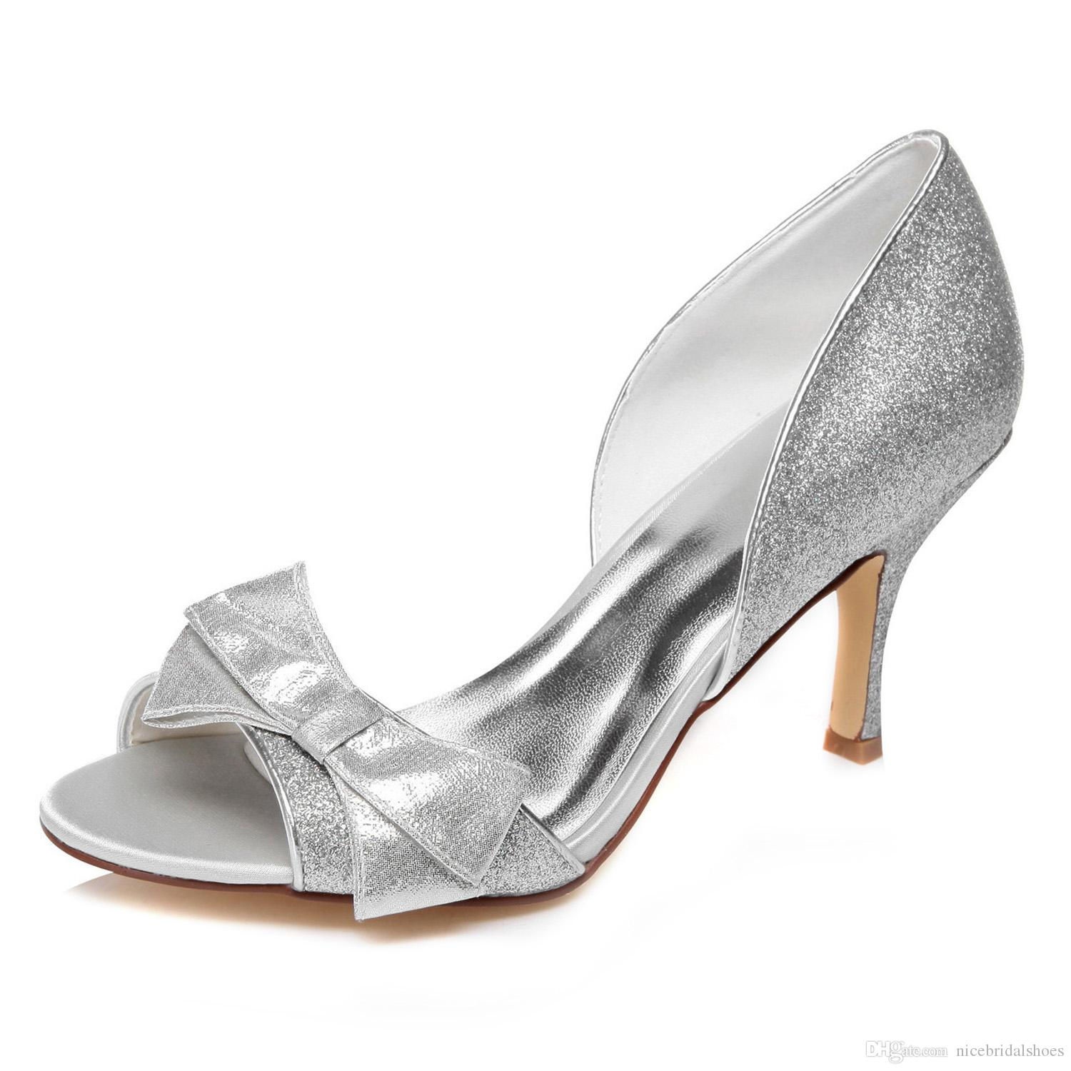 Middle Heel Shinny Material Bridal Shoes Wedding Shoes Bridemaid