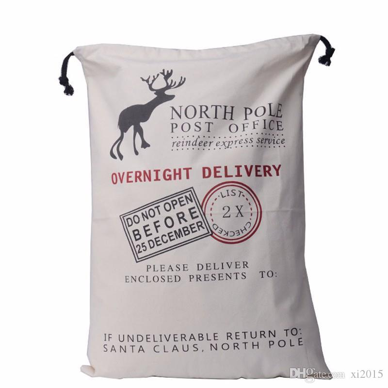 hot sale Christmas Large Canvas Santa Claus Drawstring Bag With Reindeers, Christmas Gifts Sack Bags new wen4579