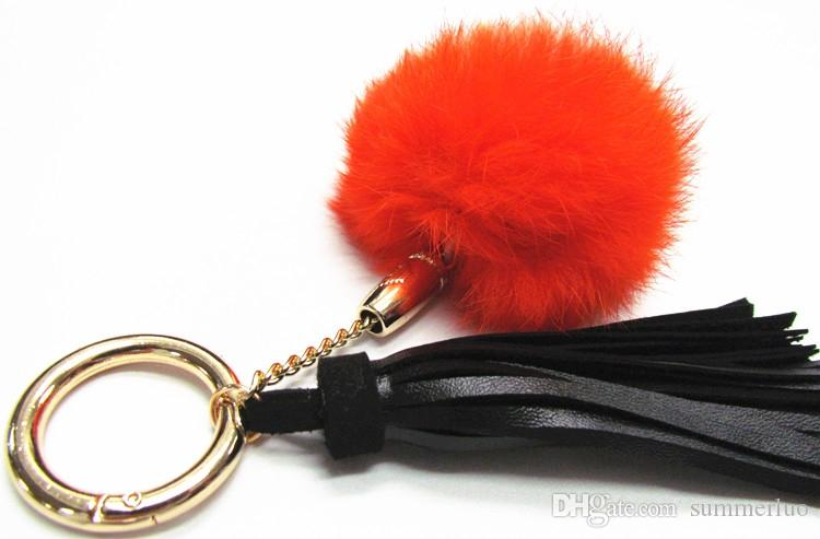 Rabbit hair ball key chain ornaments leather suede pendant tassel key chain SS0010