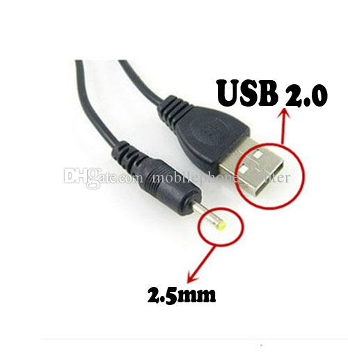 black USB charge cable to DC 2.5 mm to usb plug/jack power cord hot wholesale