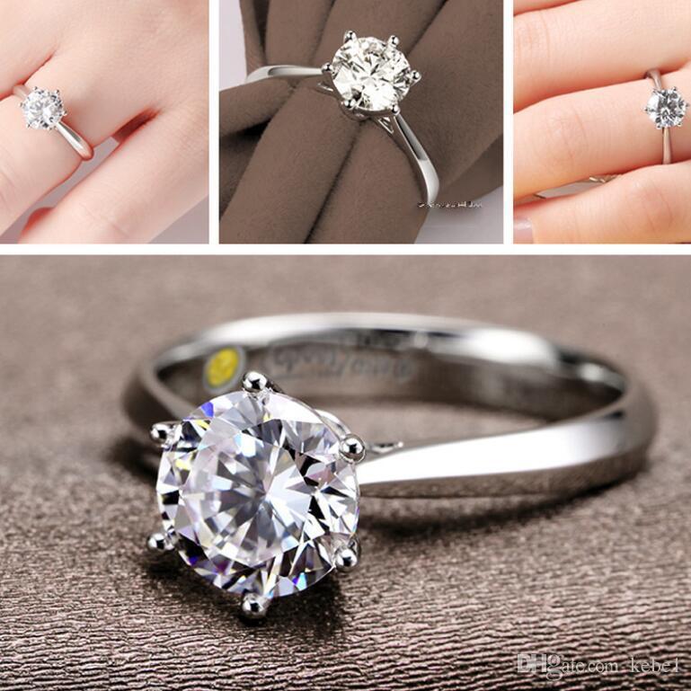 Romantyczny Klasyczny Okrągły Cyrkonia 925 Sterling Silver Finger Pierścionki Dla Kobiet Wedding Jewelry Darmowa Wysyłka