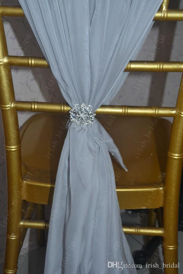 2016 Custom Made Silver Chiffon Flower Chair Covers Romantic Beautiful Crystals Chair Sashes Cheap Wedding Chair Decorations 05