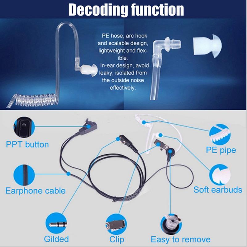 Tubo Kenwood K tipo walkie-talkie accessori auricolari Mic UV-5R Air Acoustic 2 Pin PPT Auricolare auricolare Throat Mic microfono