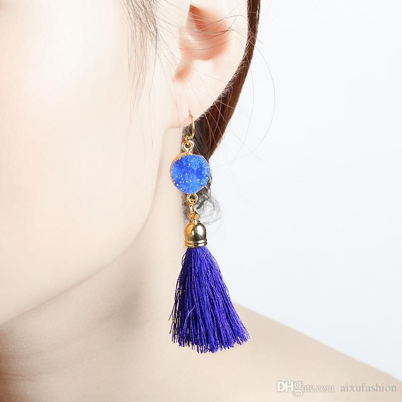 Nowy Projekt Niebieski Elegancka Żywica Długie Tassel Rope Drop Kolczyki Dla Kobiet Hot Sprzedaży Moda Etniczny Urok Kolczyk 4 Kolory