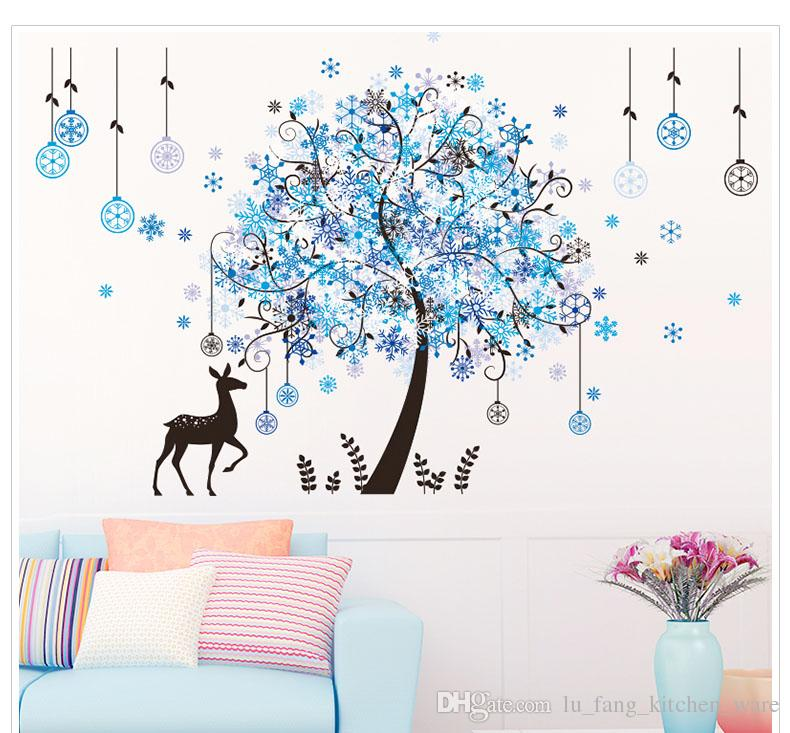new Christmas decorations wall stickers wall big tree elk render imitation 3D effects window wall sticker diy christmas party gift wholesale
