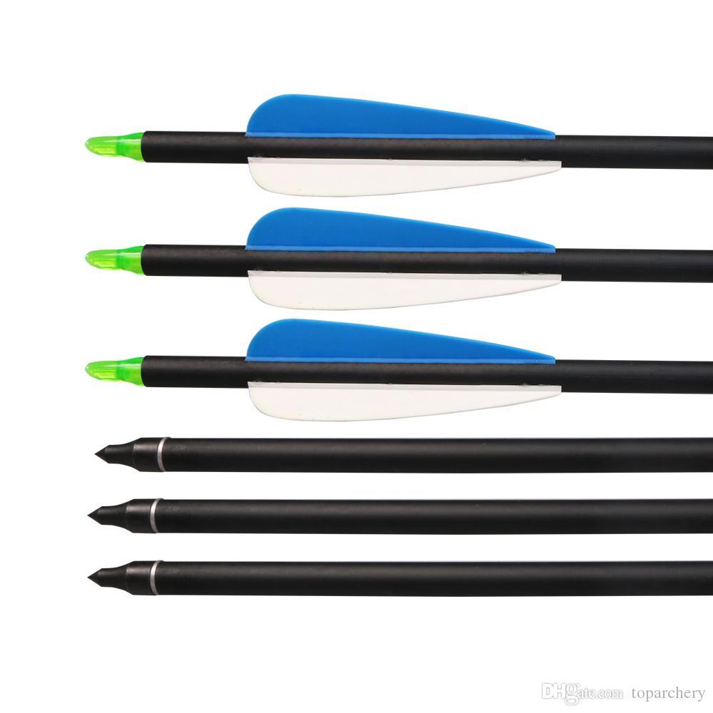 الرماية الصيد الهدف دوارات البلاستيك 31inch مزيج سهام الكربون مع نقاط الميدانية نصائح للاستبدال للأقواس
